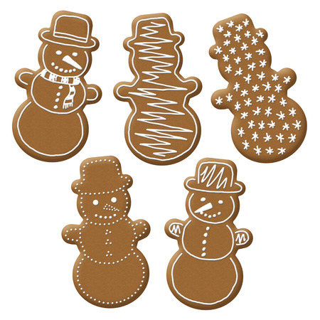 christmas snowman gingerbread with white sugar topping photo