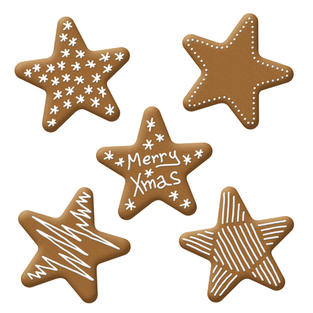 christmas star gingerbread with white sugar topping photo