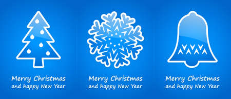 blue christmas cards with blue glossy symbols photo