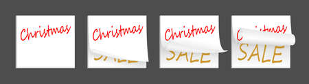 things to do: set of few little christmas white adhesive papers Stock Photo