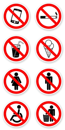 mobil: sticker of prohibited symbols with light shadow