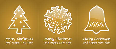gold christmas cards with blue glossy symbols photo