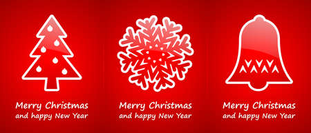 red christmas cards with gold glossy symbols photo