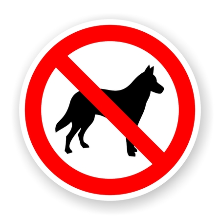 alsatian: sticker of no dog sign with shadow