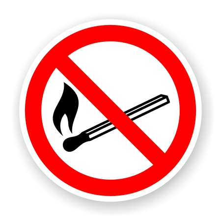 conflagration: sticker of no fire sign with shadow Stock Photo