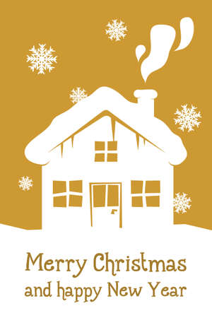 gold christmas card with house and snowflakes photo