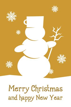 gold christmas card with snowman and snowflakes photo