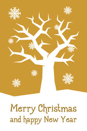 gold christmas card with tree and snowflakes photo