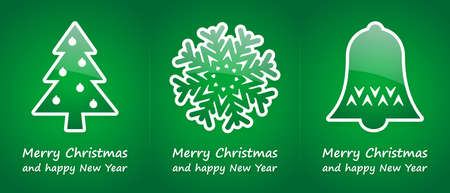 green christmas cards with green glossy symbols photo