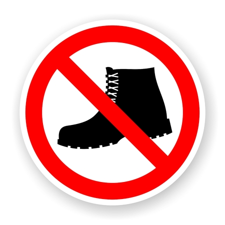 forbidden: sticker of no boots sign with shadow