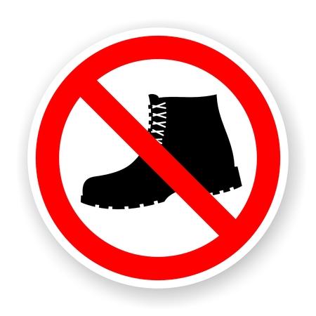 sticker van geen laarzen ondertekenen met schaduw
