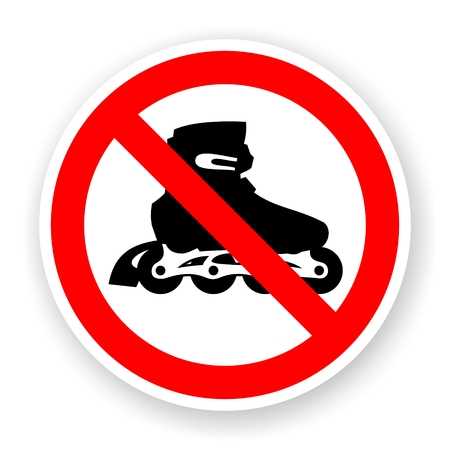 sticker of no roller skates sign with shadow photo