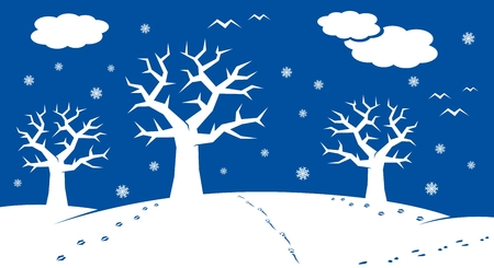 winter cartoon landscape with many winter and christmas elements photo
