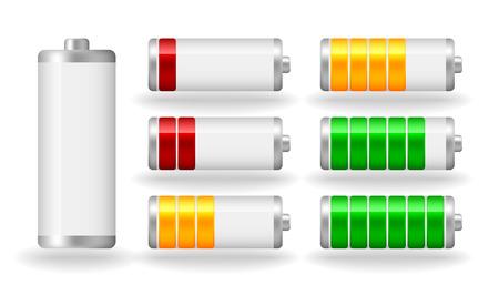 Vector glanzende batterij volheid indicator met lichte schaduw Stockfoto - 23909848