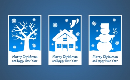 vector blue christmas cards with christmas elements Vector