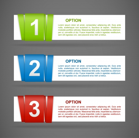 vector color paper option labels with number of option on ribbon