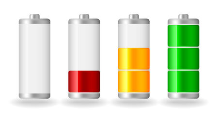 four vector glossy battery fullness indicator with light shadow Stock Illustratie