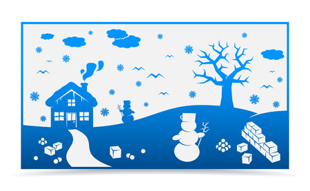 vector winter cartoon landscape with many winter and christmas elements Vector