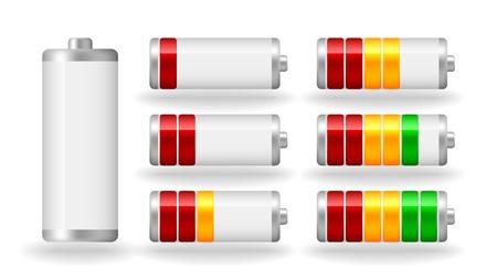 fullness: vector glossy battery fullness indicator with light shadow Illustration