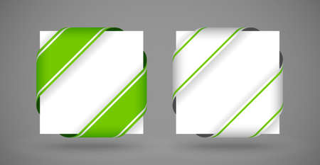 vector green and silver christmas corner ribbons with light shadow Vector