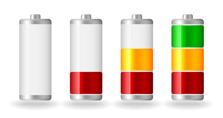 fullness: four vector glossy battery fullness indicator with light shadow Illustration