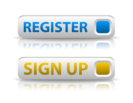 vector blue register and yellow sign up button with light shadow and reflection Vector