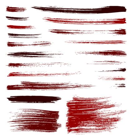 set of vector red quality handmade brush strokes
