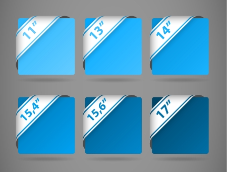 vector blue symbols indicating the size of display with light shadow Stock Vector - 24999084