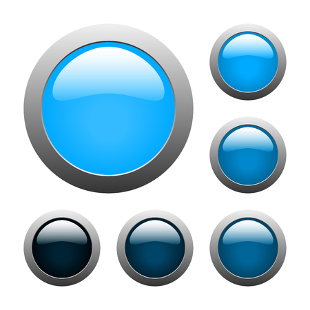 set of vector blue rounded glass buttons Vector