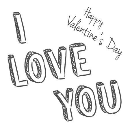 vector handwritten valentine greeting on the white background Vector