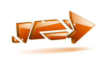 unfold: vector 3D orange broken arrow pointer with reflection Illustration