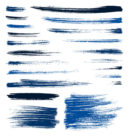 set of vector blue quality handmade brush strokes