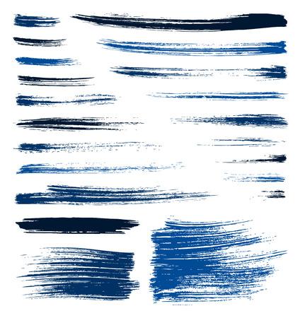 set of vector blue quality handmade brush strokes
