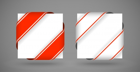 vector red and white christmas corner ribbons with light shadow Vector
