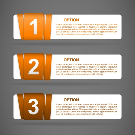 vector orange paper option labels with number of option on ribbon Vector