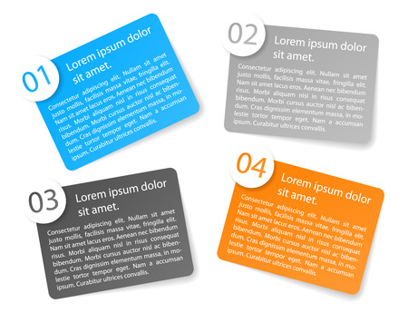 angular: set of vector color angular paper option labels with number of option Illustration