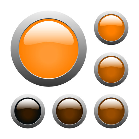 set of vector orange rounded glass buttons Vector