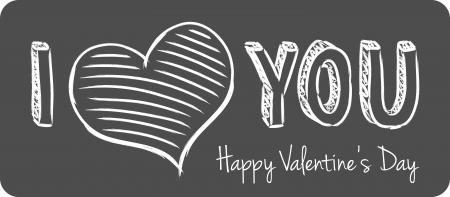 vector handwritten valentine greeting on the gray background Vector