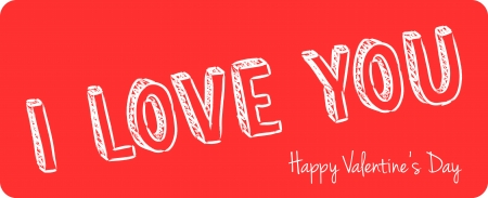 vector handwritten valentine greeting on the red background Vector
