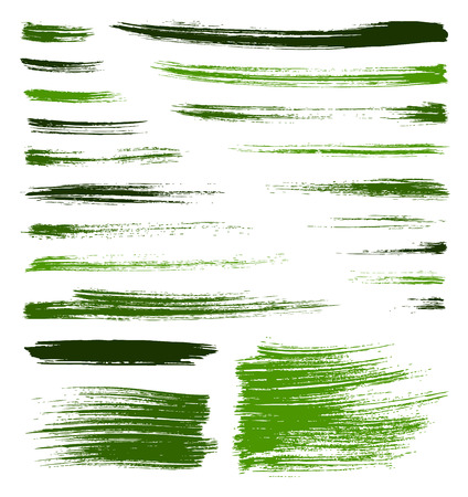 set of vector green quality handmade brush strokes Vector