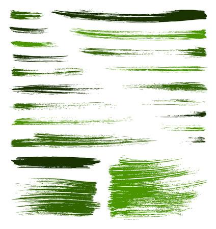 set van vector groene kwaliteit handgemaakte penseelstreken Stock Illustratie
