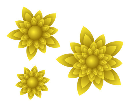 vector yellow beautiful flowers with light gradients and shadows Vector