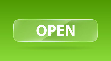 glass reflection: vector green glass button with white sign open and reflection