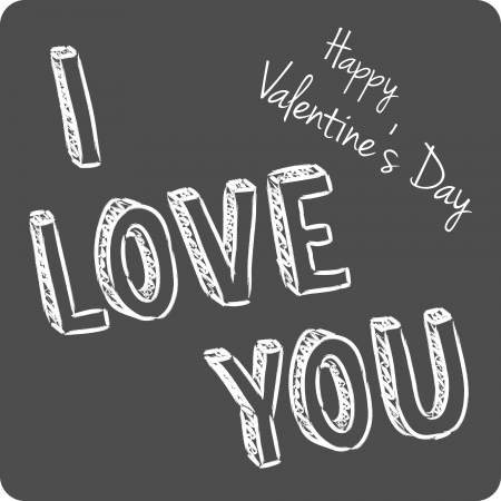 vector handwritten valentine greeting on the gray  Vector