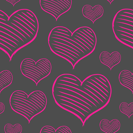 vector repeated valentine pattern with many pink heart Vector