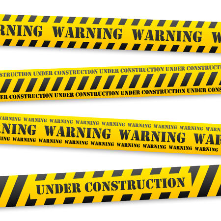 danger sign: set of vector yellow tapes with black warning sign