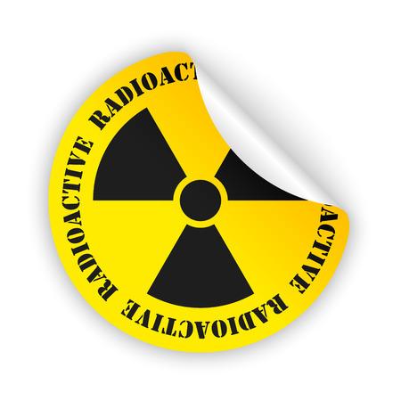 radioactive sign: vector amarillo etiqueta doblada con la muestra radiactiva negro