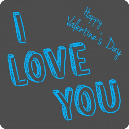 vector handwritten valentine greeting on the gray background Vector