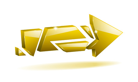 3D yellow broken arrow pointer with reflection Vector