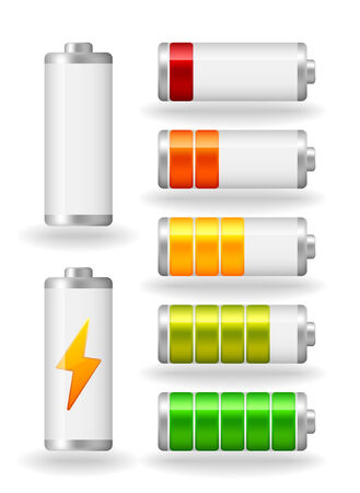 seven glossy battery fullness indicator Vector
